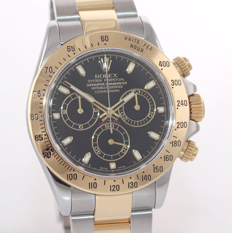 MINT 2015 Rolex Daytona 116523 Black Steel 18k Yellow Gold Two Tone Watch Box