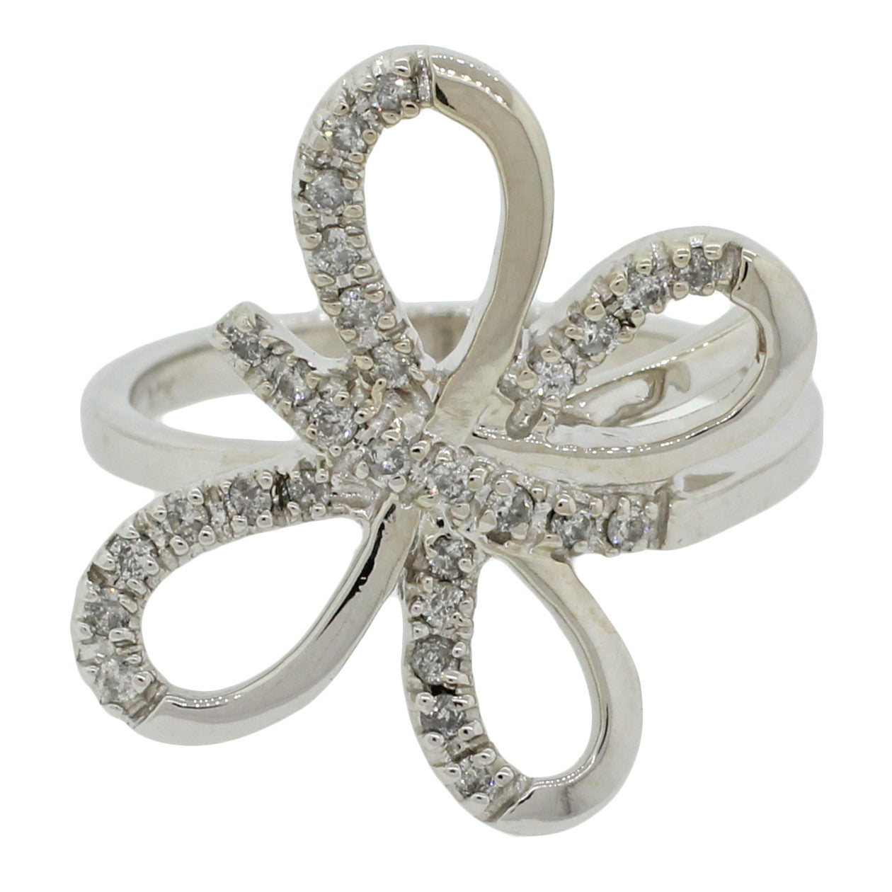 Modern Womens 14k Solid White Gold 0.30ctw Diamond Butterfly Cocktail Ring