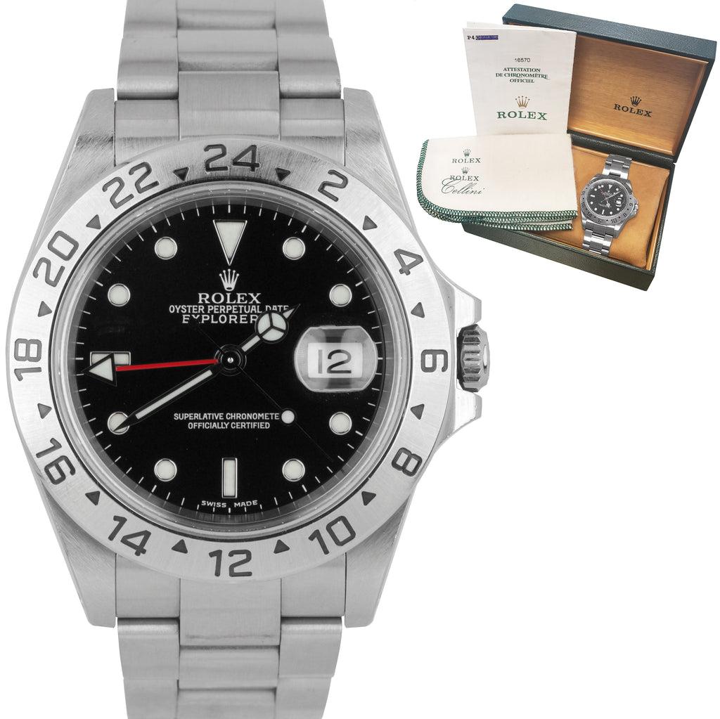 2000 UNPOLISHED Rolex Explorer II SEL LUME SS Black Date GMT 40mm Watch 16570