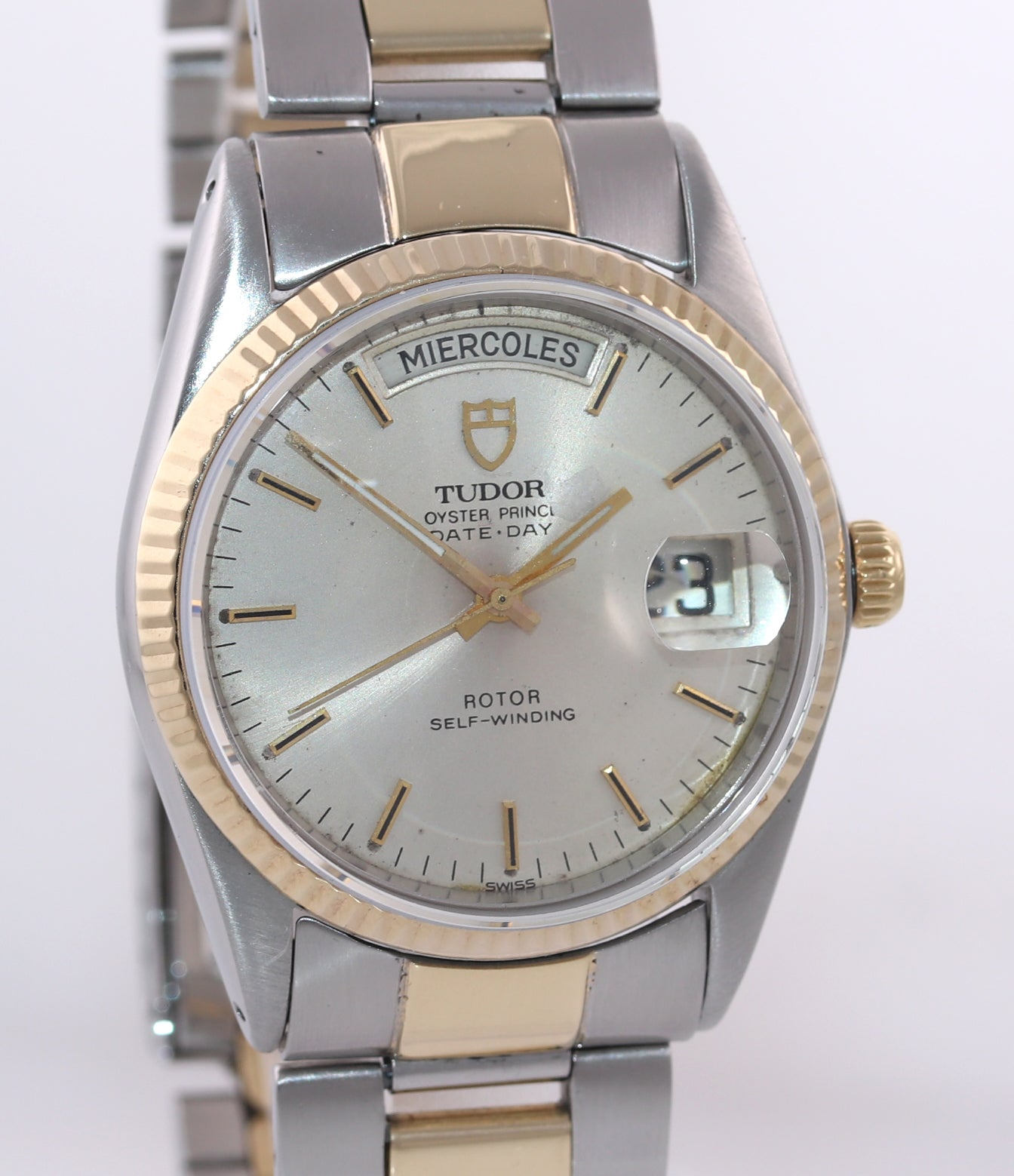 Tudor Prince Day-Date Steel 94510 36mm Champagne Stick Silver Automatic Watch