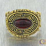 1820s Antique Georgian 14k Solid Yellow Gold Red Stone Black Enamel Ring