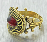 1820s Antique Georgian Estate 14k Solid Yellow Gold Red Stone Black Enamel Ring