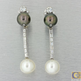 Gorgeous 18k White Gold 3.1ct Diamond Tahitian and White Pearl Drop Earrings