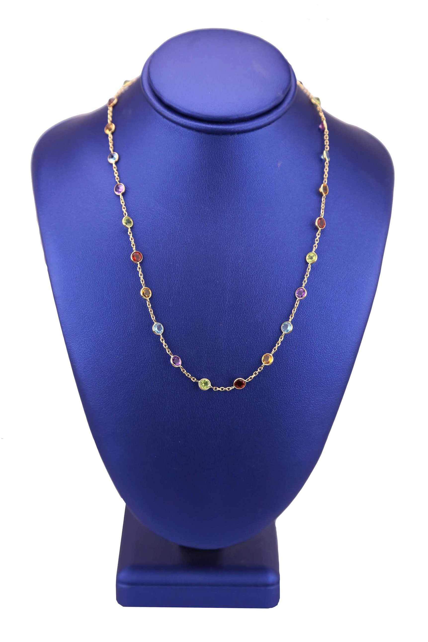 "Ladies Estate 14k Yellow Gold Multi Gemstones By The Yard Station 17"" Necklace"