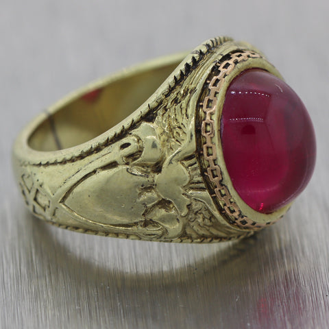 Men's Antique Vintage Estate 14k Yellow Gold Synthetic Ruby Crest Ring