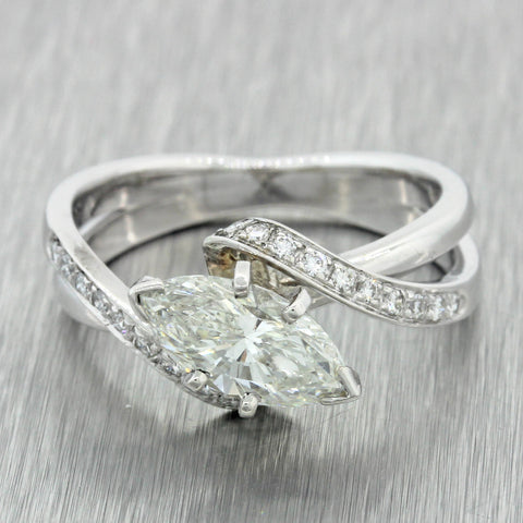 Modern 18k Solid White Gold 1.58ctw Marquise Diamond Engagement Ring EGL