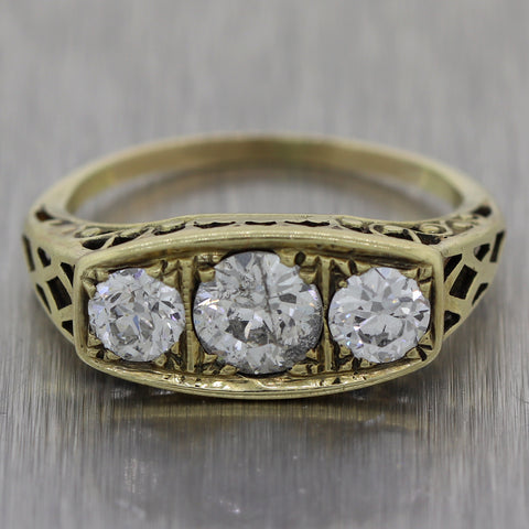 1910's Antique Victorian 14k Yellow Gold 1.41ctw Diamond Ring