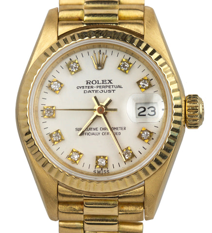 Ladies Rolex DateJust 69178 26mm White Diamond 18K Yellow Gold Watch President