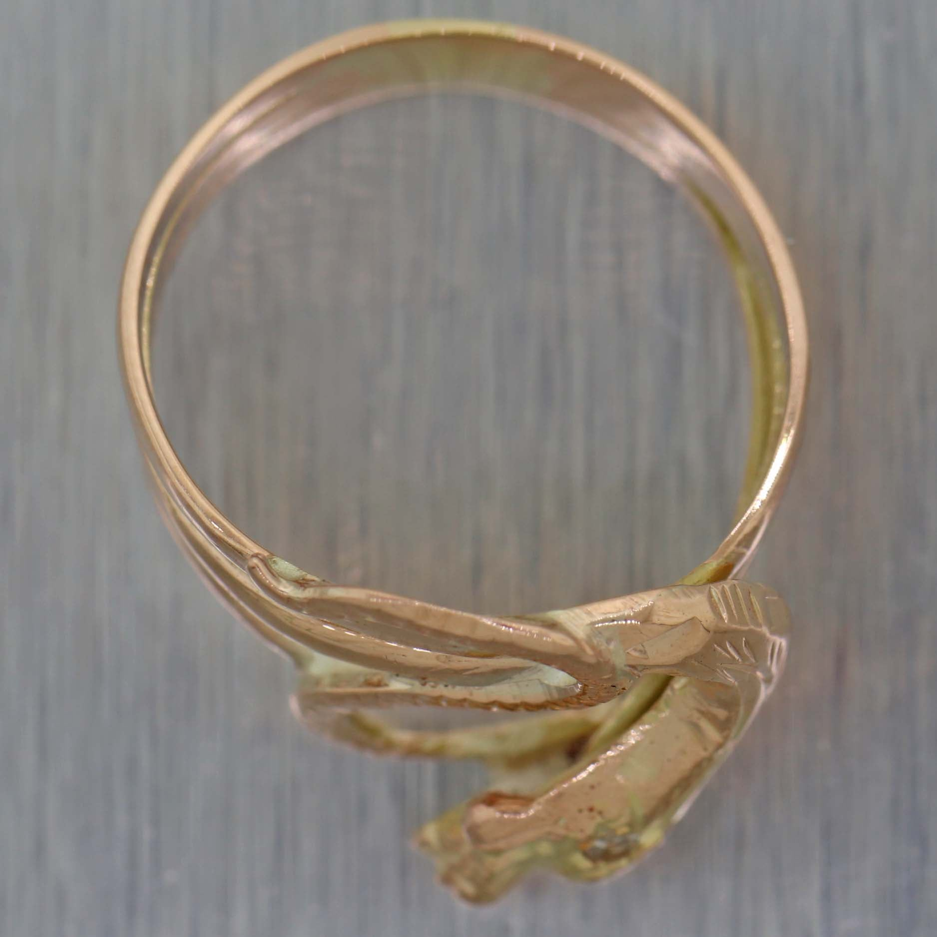 1890's Antique Victorian 14K Rose Gold Snake Ring