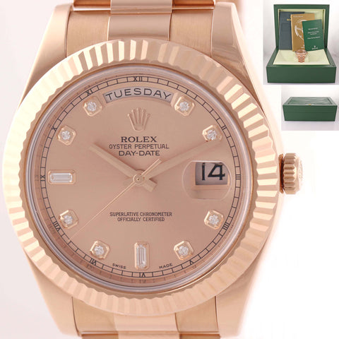 MINT Rolex Day Date II President 18K Everose Gold Diamond 41mm 218235 Watch D8