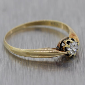 1880's Antique Victorian 14k Yellow Gold 0.20ctw Diamond Solitaire Ring