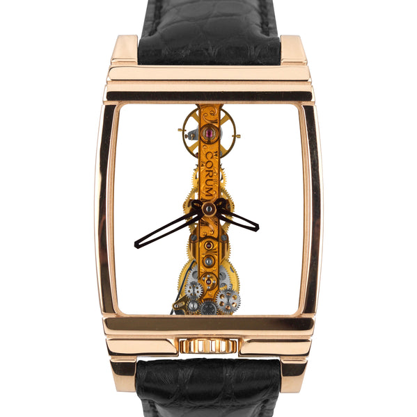 Corum Golden Bridge 18K Rose Gold Skeleton Tonneau 32x49mm Watch 113.550.55