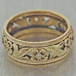 1900's Antique Victorian 14K Yellow Gold Flower Filigree Wedding Band Ring