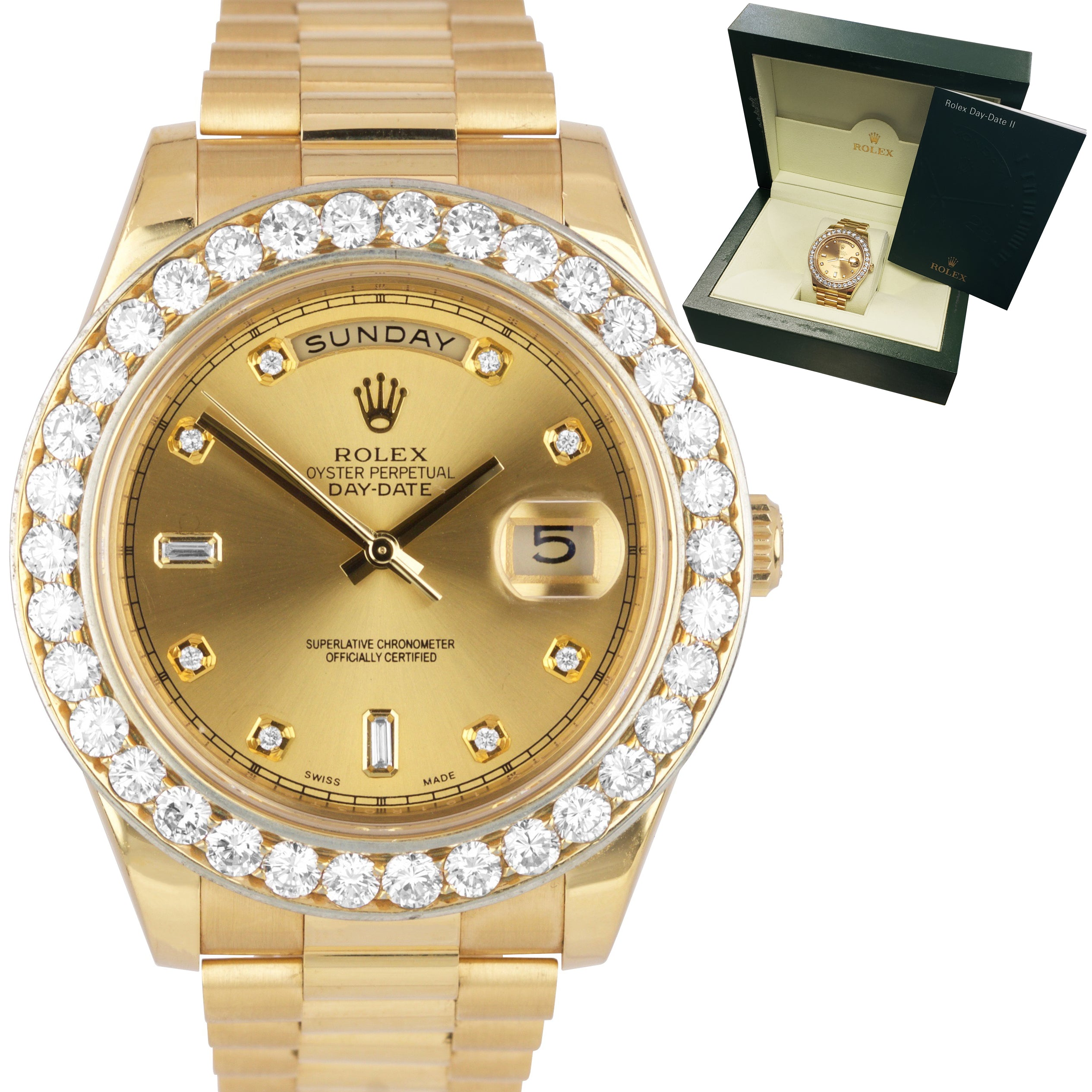 Rolex 18k Yellow Gold Day Date Ii 41mm Diamond Dial Bezel President Watch 218238