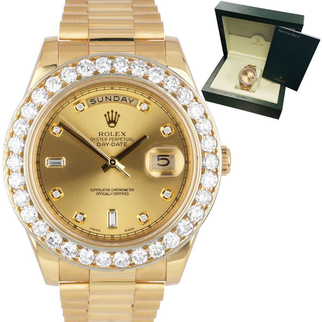Rolex 18K Yellow Gold Day-Date II 41mm Diamond Dial Bezel President Watch 218238