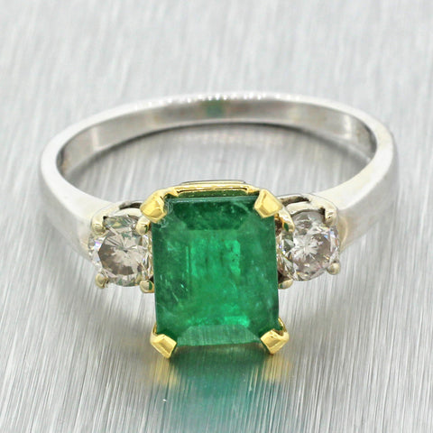 Vintage Estate 18k Solid White Yellow Gold 2.05ct Natural Emerald Diamond Ring
