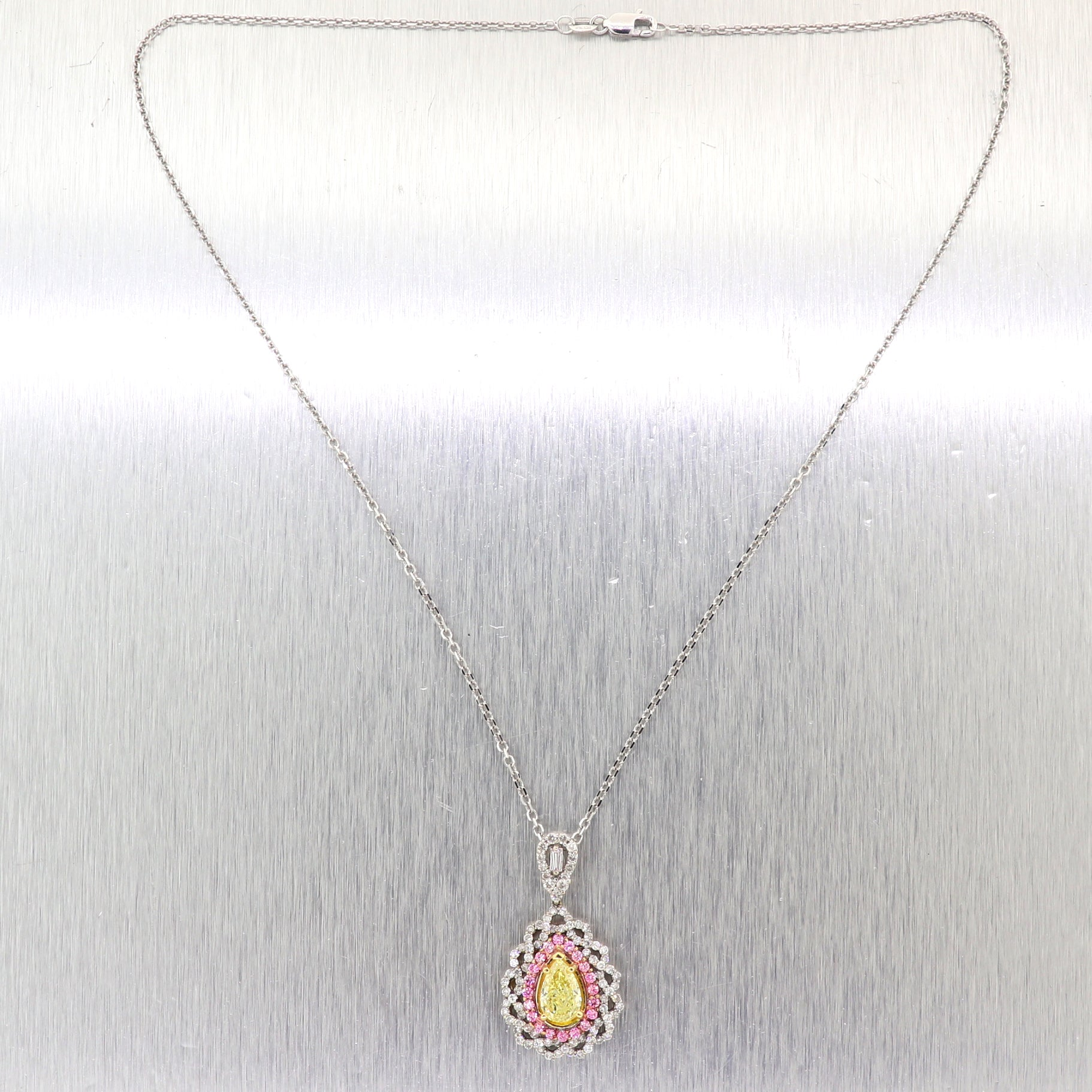 "GIA 1.28ct Pear Cut Yellow Diamond 18k White Gold 2.78ctw Diamond 16"" Necklace"