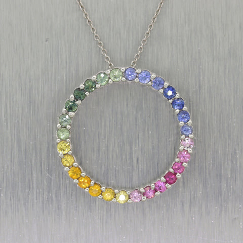 "Effy 14k White Gold Multicolor 1.40ctw Sapphire Rainbow 18"" Necklace"