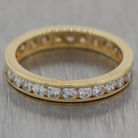 Vintage Estate 14k Yellow Gold 1.25ctw Diamond Eternity Wedding Band Ring