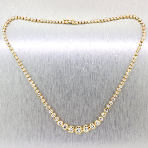 "Vintage Estate 18k Yellow Gold Graduated 12.6ctw Diamond Tennis 18"" Necklace"