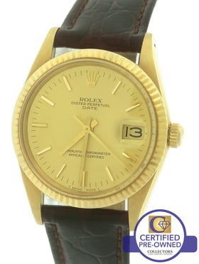 MINT Rolex Date 15038 34mm 18K Yellow Gold Champagne Watch Fluted DateJust 15238