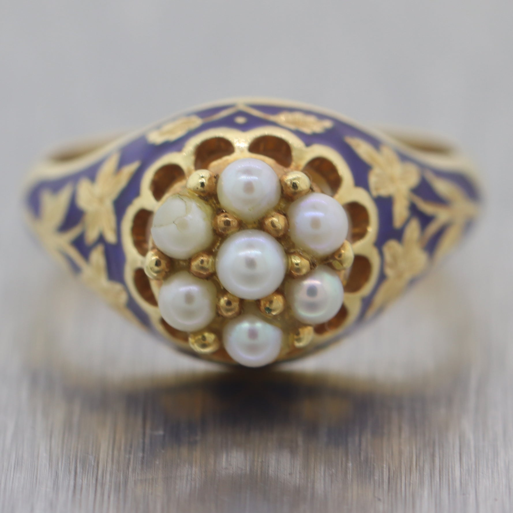 Antique Victorian 18k Yellow Gold Enamel & Pearl Ring