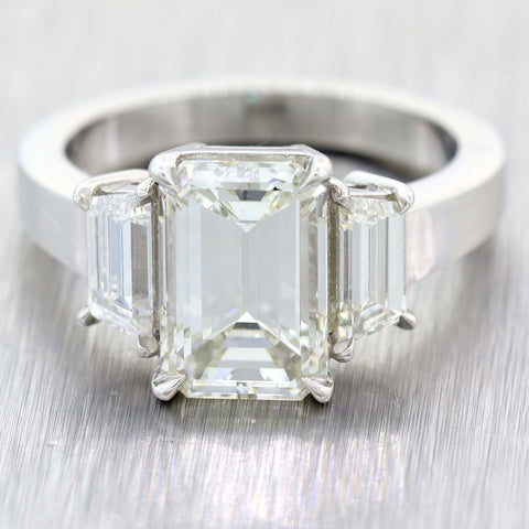 Emerald Cut 3.01ct GIA Platinum Diamond Trapezoid Cut 3.86ctw Engagement Ring t1