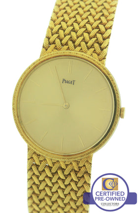 MINT Ladies Vintage Piaget 18K 750 Yellow Gold Champagne 31.5mm Woven Mesh Watch