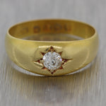 1880's Antique Victorian 18k Yellow Gold 0.24ct Diamond Band Ring