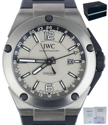 MINT IWC Ingenieur Dual Time Titanium IW326403 3264-03 Grey Automatic Watch