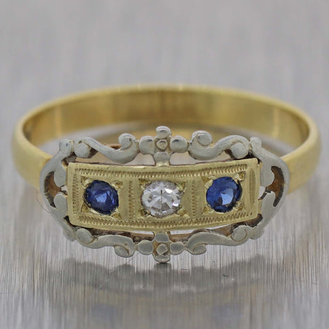 1880's Antique Victorian 18K Yellow Gold Diamond & Sapphire Band Ring