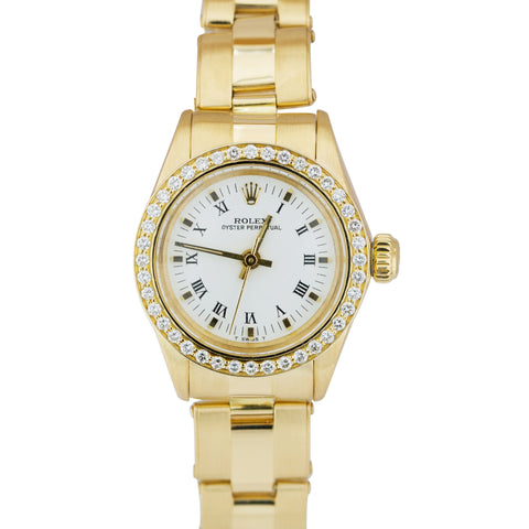 Ladies Rolex Oyster Perpetual 18K Yellow Gold Diamond 24mm Watch 6719 President