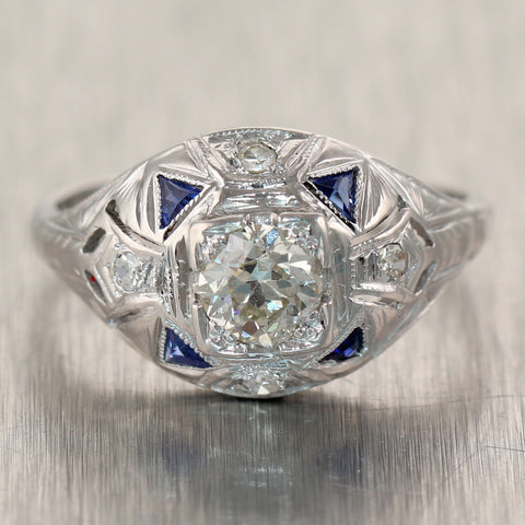 1930's Antique Art Deco Platinum 0.75ctw Diamond & Sapphire Ring
