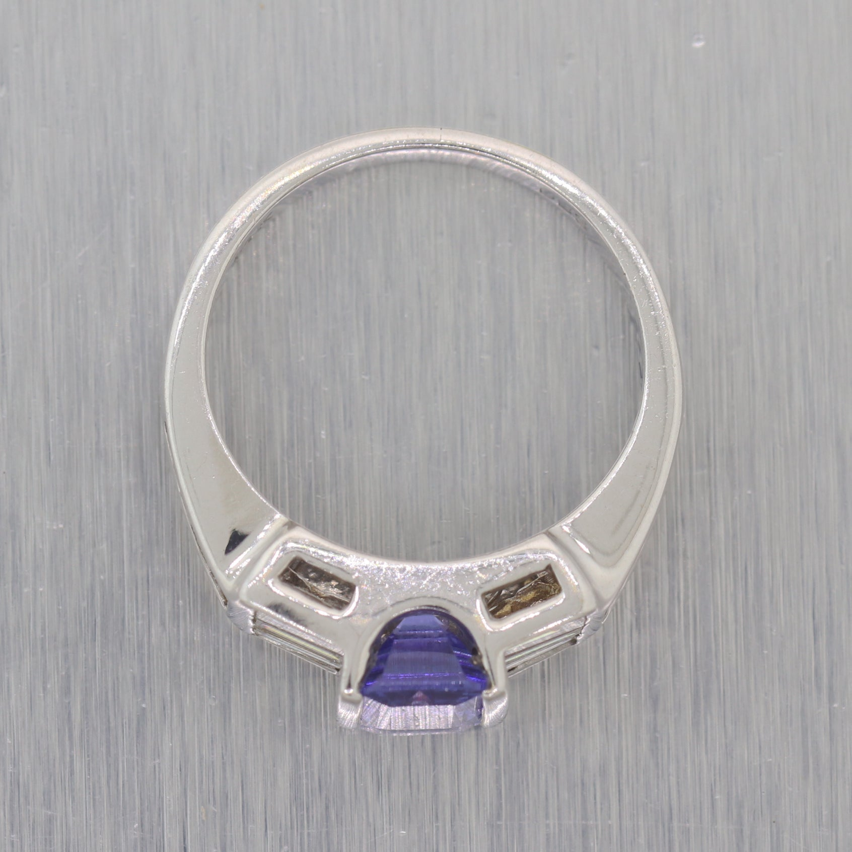 Vintage Estate 14k White Gold 1.75 Tanzanite & Diamond Ring