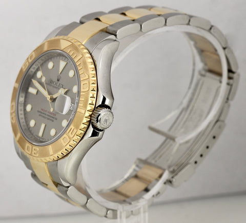 2008 ENGRAVED Rolex Yacht-Master 16623 Slate 40mm 18K Two Tone Gold Steel Watch
