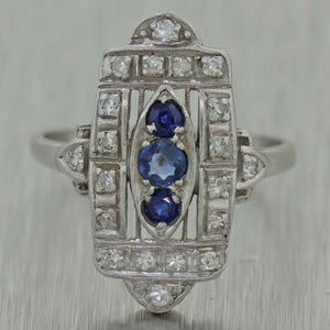 1920's Antique Art Deco Platinum Sapphire & Diamond Cocktail Ring