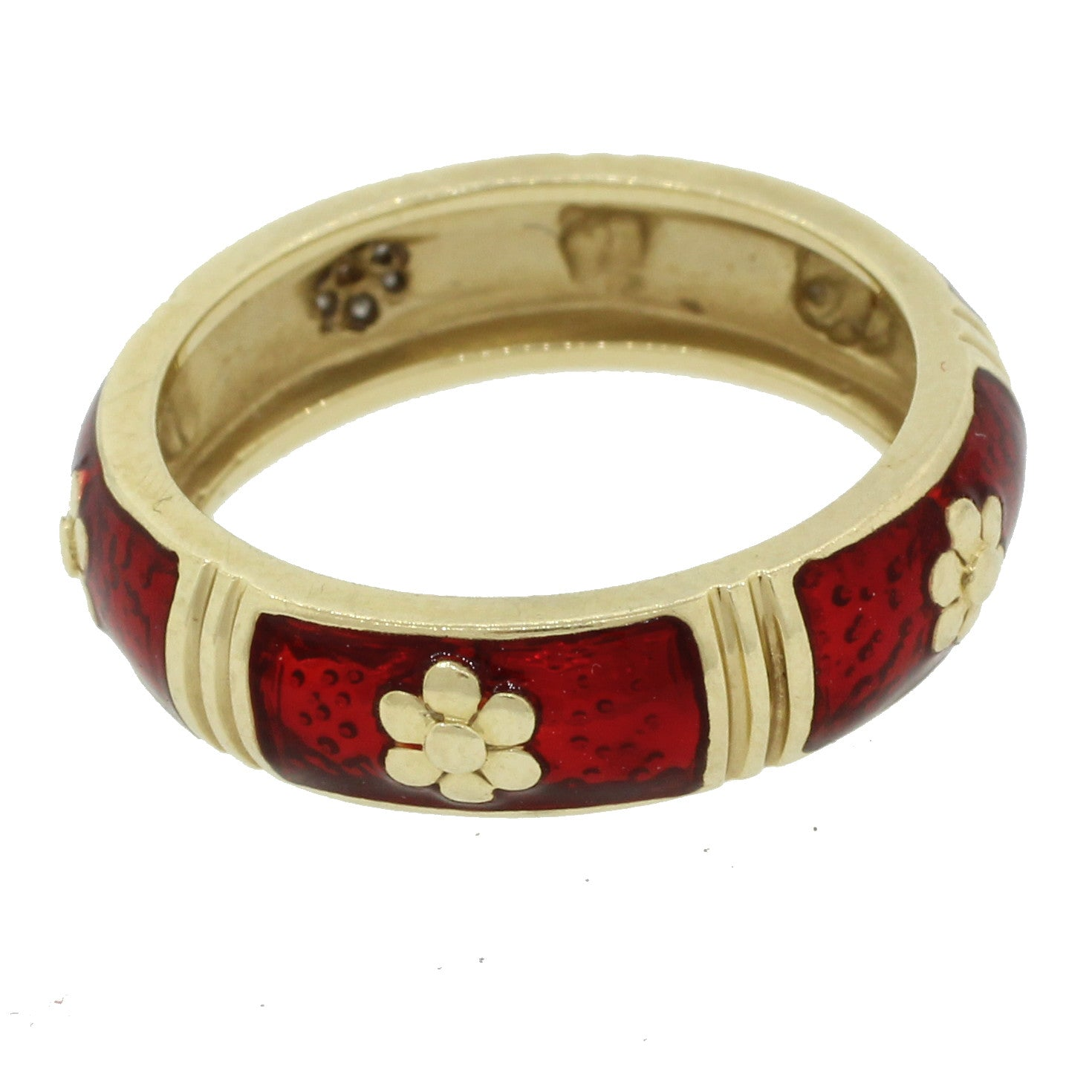 Vintage Estate 14k Solid Yellow Gold Diamond Red Enamel Wedding Band Ring Italy
