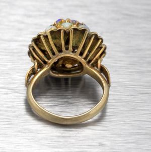 Ladies Vintage Antique 14K Yellow Gold 1.12ctw Opal Cluster Dome Cocktail Ring