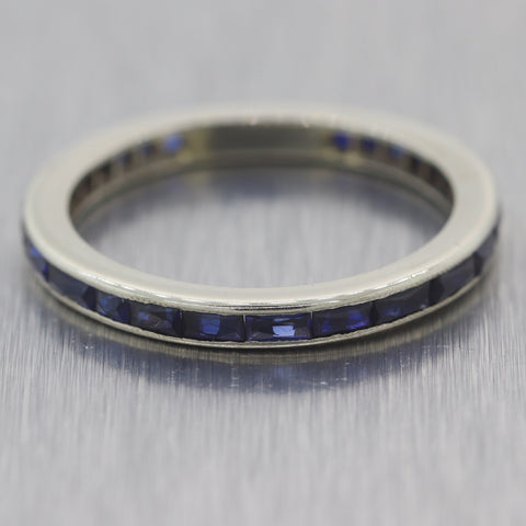 1930's Antique Art Deco 14k White Gold 1ctw Sapphire Wedding Band Ring