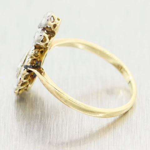 1910's Antique Art Nouveau Platinum & 18k Yellow Gold 1ctw Diamond Ring