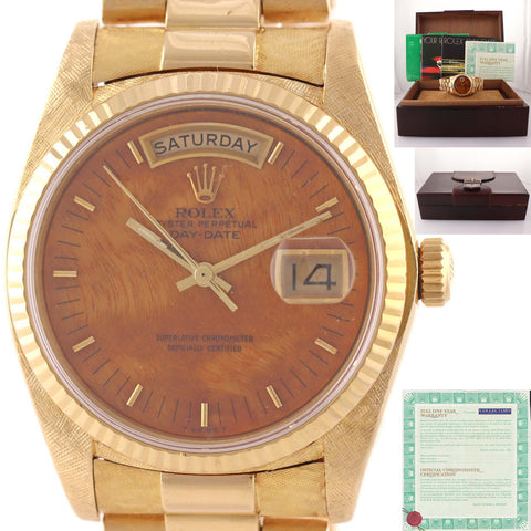 PAPERS Rolex Day-Date President 18038 Florentine 18k Gold Wood Dial Watch D8