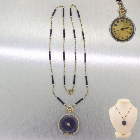 1880 Antique Victorian 18k Yellow Gold Purple Enamel Pocket Watch 22.25 Necklace