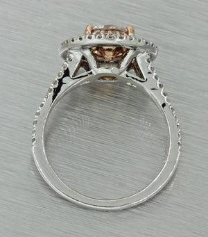 14k White Gold 1.24ct Natural Pink Diamond Halo Engagement Ring GIA
