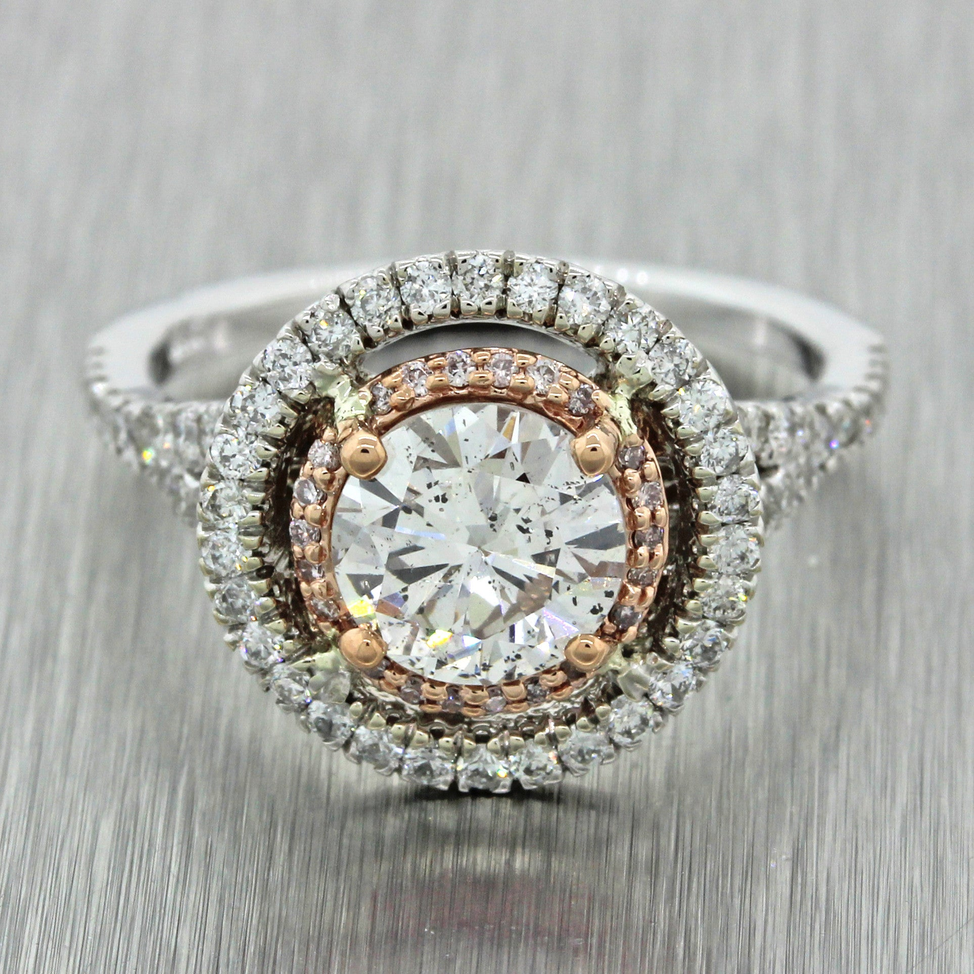 Gorgeous Estate 14k White Gold 1.24ct Natural Pink Diamond Halo Engagement Ring GIA