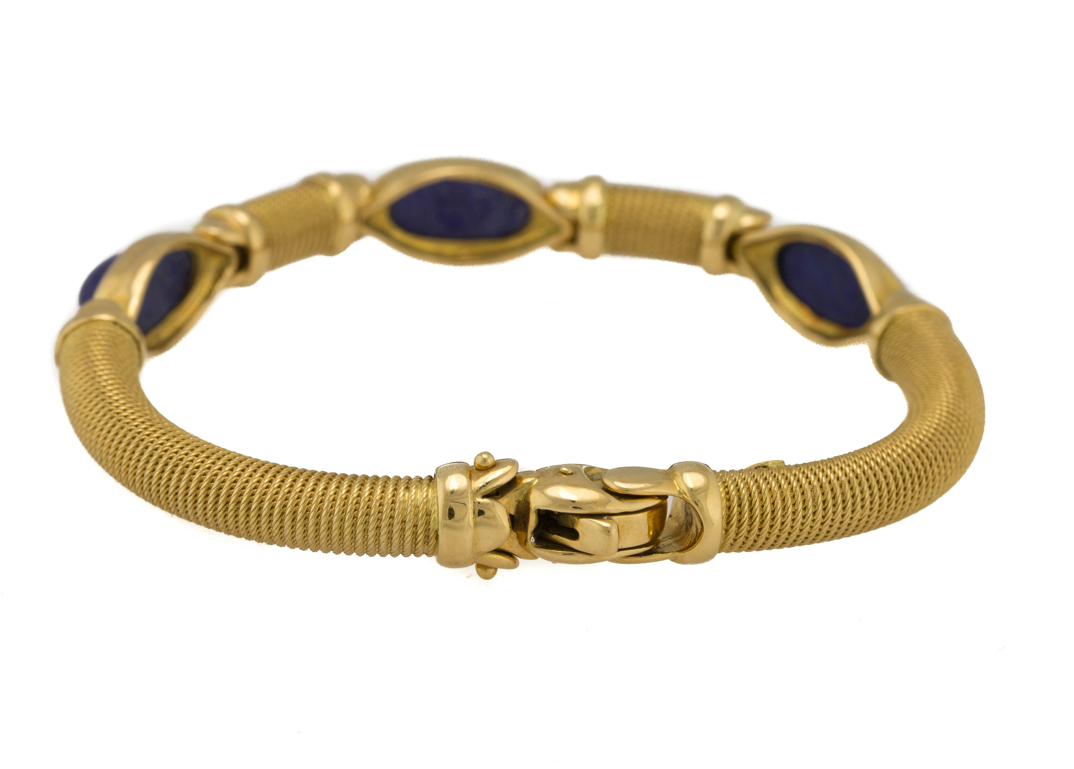 Lovely Ladies Italian Vintage Estate 18K 750 Yellow Gold Lapis Lazuli Bracelet