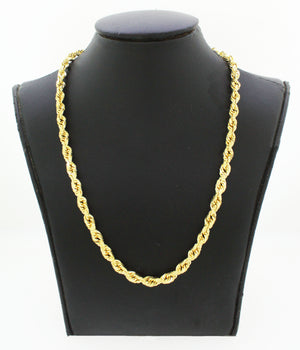 "Men's Modern 10k Solid Yellow Gold 24"" 25.6g Rope Link Chain"