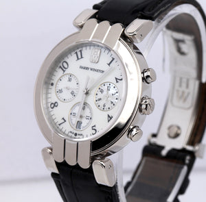 Harry Winston Premier Chronograph 37mm MOP 18K 750 White Gold Watch 200MC037W