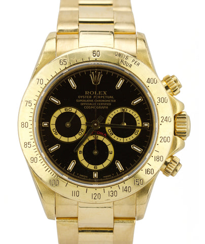 RARE 1994 Rolex Daytona Cosmograph El Primero Black 16528 18K Yellow Gold Watch