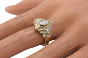 Ladies 14K Yellow Gold 1.13ctw Marquise Baguette Cut Diamond Engagement Ring