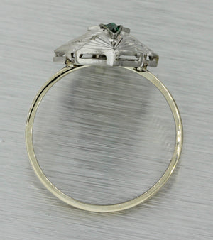 1930s Antique Art Deco 14k Solid White Gold .20ct Diamond Emerald Ring